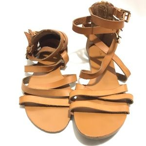Bamboo Brown Strappy Sandals Size 6